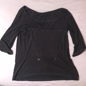 American eagle embroidered gray top